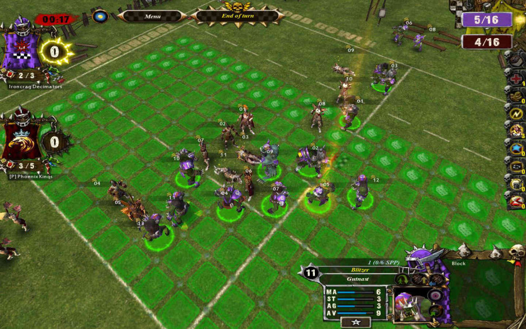 Push 2 players off the pitch!  Assume all High Elf players are rookies and that all of your players have Block.  Assume all 2D blocks result as pushes.  1D and 2D opponent's favor result as attacker down.